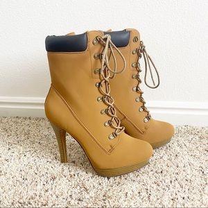 JustFab | Tan Heeled Lace Up Boots | 7.5